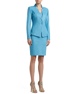 St. John Collection Corded Shimmer Knit Fitted Jacket & Corset Seam Dress