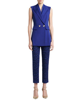 St. John Collection Milano Knit Double Breasted Sleeveless Jacket, Stretch Silk Crepe de Chine Shell & Graphic Lace Cropped Pants