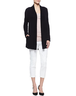 Vince Loose Cozy Ribbed Cardigan & Military Rolled Trousers