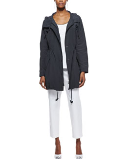 Eileen Fisher Weather-Resistant Jacket, Tipped Long Tank & Twill Slim Ankle Pants, Women's