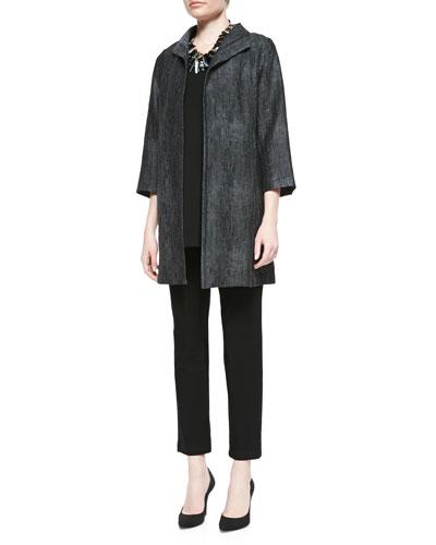 Eileen Fisher Long Hologram Silk Coat, Silk Jersey Tank & Stretch-Crepe Ankle Pants