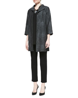 Eileen Fisher Long Hologram Silk Coat, Silk Jersey Tank & Stretch-Crepe Ankle Pants, Petite