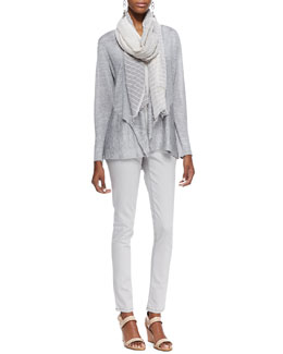 Eileen Fisher Polished Jersey Cardigan, Long Slim Camisole, Organic Soft Skinny Jeans & Handloomed Color Shift Scarf, Petite