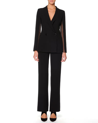 Giorgio Armani Sheer-Inset Cocktail Jacket & Straight-Leg Trousers