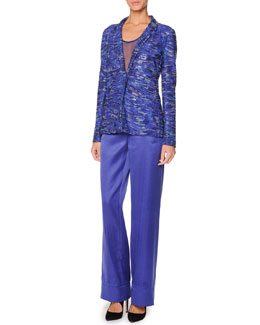 Giorgio Armani Swarovski Crystal Jacket & Wide-Leg Satin Pants