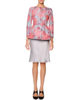 Giorgio Armani Floral Jacquard Fil Coupe Jacket & Bias-Cut Silk Satin Skirt
