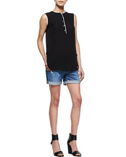 Vince Silk Sleeveless Blouse & Mason Distressed Cuffed Denim Shorts