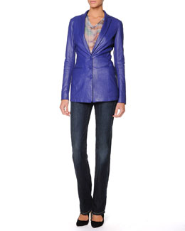 Giorgio Armani Three-Button Plonge Leather Jacket, Paintbrush-Stroked Blouse & Straight-Leg Washed Denim Jeans