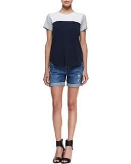 Vince Colorblock Knit Short-Sleeve Tee & Mason Distressed Cuffed Denim Shorts