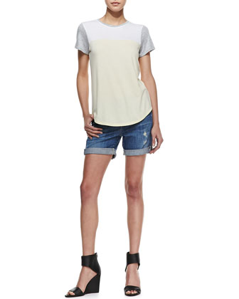 Colorblock Knit Short-Sleeve Tee & Mason Distressed Cuffed Denim Shorts