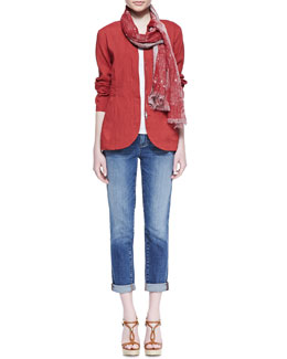 Eileen Fisher Linen/Viscose Stretch Shawl-Collar Peplum Jacket, Slim Tank, Oxydyzed Jacquard Scarf & Stretch Boyfriend Jeans, Petite