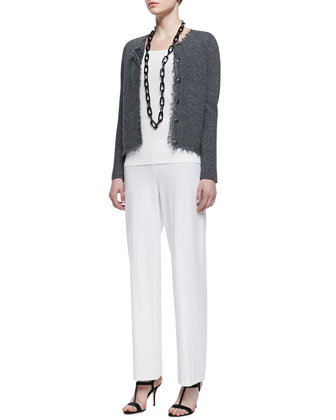 Basket Stitch Knit Jacket, Long Slim Camisole & Wide-Leg Pants, Women's