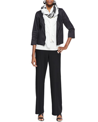 Polished Ramie Jacket, Long Slim Camisole, Wide-Leg Pants & Printed Big Square Scarf
