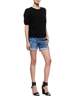 Vince Short-Sleeve Crewneck Jacquard Tee & Mason Distressed Cuffed Denim Shorts