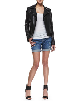Vince Smooth Leather Motorcycle Jacket, Ribbed Favorite Tank & Mason Distressed Cuffed Denim Shorts