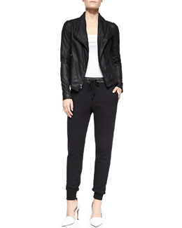 Vince Scuba-Style Leather Jacket, Ribbed Favorite Tank & Leather-Trim Drawstring Sweatpants