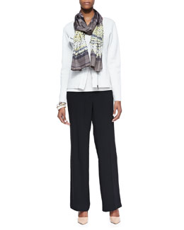 Eileen Fisher Silk-Cotton Short Jacket, Long Slim Camisole, Prismatic Striped Silk Scarf & Wide-Leg Trousers