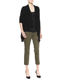 Vince Ribbed Draped Open Cardigan, Favorite Tank & Tab-Waist Cropped Trousers