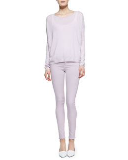 Vince Cashmere Perforated-Back Sweater, Ribbed Favorite Tank & Riley Lightweight Legging Jeans