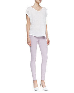 Vince Cocoon V-Neck Short-Sleeve Tee & Riley Lightweight Legging Jeans