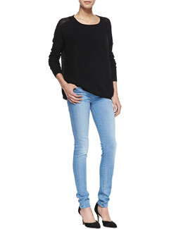 Vince Cashmere Perforated-Back Sweater, Favorite Tank & Riley Skinny Jeans