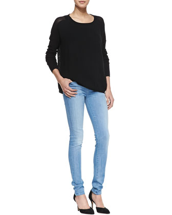 Cashmere Perforated-Back Sweater, Favorite Tank & Riley Skinny Jeans