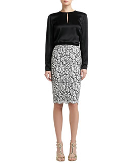St. John Collection Liquid Satin Jewel Neck Blouse & Graphic Lace Pencil Skirt with Scalloped Hem