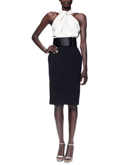 Lanvin Twist-Halter Colorblock Dress & Wide Grip-Strap Belt
