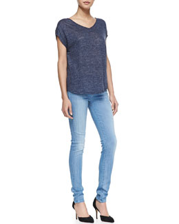 Vince Heathered Cocoon Linen Top & Riley Skinny Jeans