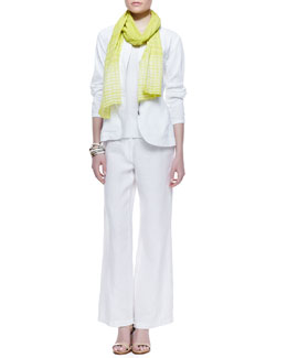Eileen Fisher Ramie Shawl-Collar Peplum Jacket, Slim Tank, Cracked Cotton Scarf & Heavy Linen Trousers, Women's