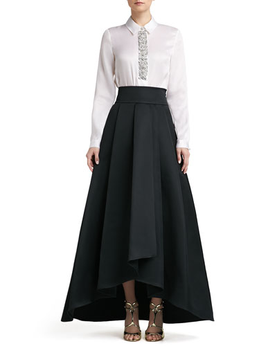 St. John Collection Crystal Beaded Satin Faced Organza Blouse & Duchesse Origami Ruffle Gown Skirt