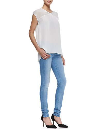 Vince Sheer-Top Silk Blouse & Riley Skinny Jeans
