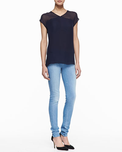 Vince Sheer-Yoke Silk Tee & Riley Skinny Jeans