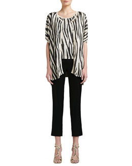 St. John Collection Tigre-Print Light Shimmer Knit Trapeze Cardigan, Cap-Sleeve Shell & Liquid Satin Side-Zip Cropped Pants