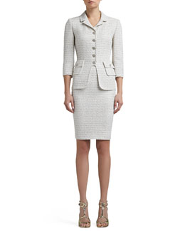 St. John Collection Frosted Shimmer Knit 3/4 Sleeve Tailored Jacket & Pencil Skirt