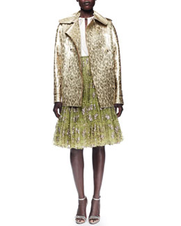 Lanvin Metallic Leopard Jacket, Techno Satin Blouse & Tiered Tulle Skirt