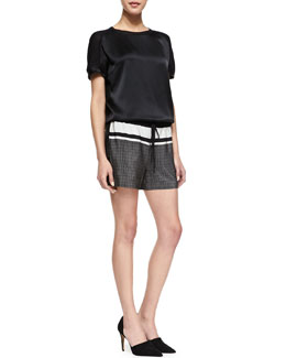 Vince Satin/Jersey Relaxed Tee & Printed Silk Drawstring Shorts