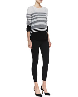 Vince Colorblock Striped Cashmere Sweater, Favorite Tank & Cropped Jersey Leggings