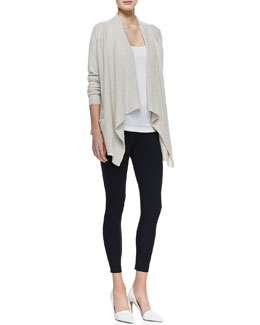 Vince Cashmere Draped Open Cardigan, Ribbed Favorite Tank & Cropped Jersey Leggings