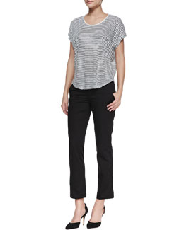 Vince Striped Linen-Slub Top & Cropped Flare-Cuff Twill Trousers