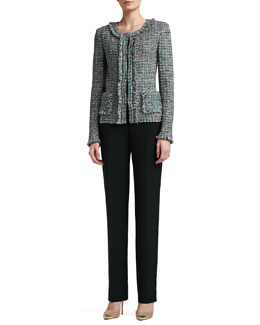 St. John Collection Donegal Plaid Tweed Knit Jacket, Rib Knit Fine Gauge Scoop Neck Sleeveless Shell & Crepe Marocain Straight Leg Diana Pants