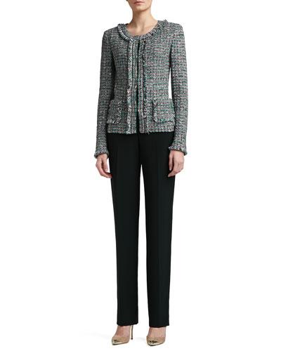St. John Collection Donegal Plaid Tweed Knit Jacket, Rib Knit Fine Gauge Scoop Neck Sleeveless Shell & Crepe Marocain Straight Leg Diana Pants