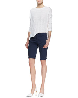 Vince Rolled-Trim Slub Tee & Side-Buckle Bermuda Shorts
