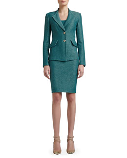 St. John Collection Space Dyed Tack Knit Revere Collar Jacket, Rib Knit Fine Gauge Scoop Neck Sleeveless Shell & Space Dyed Tack Knit Pencil Skirt