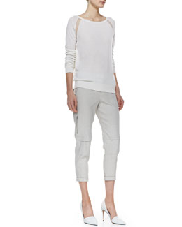 Vince Sheer-Inset Knit Top & Cropped Linen-Blend Cargo Pants
