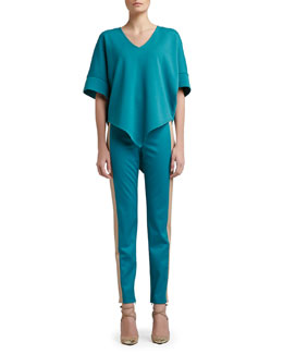 St. John Collection Milano Knit V-Neck Poncho & Stretch Venetian Wool Slim Ankle Pants