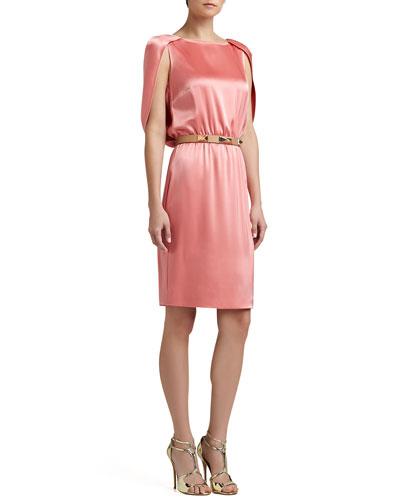 St. John Collection Liquid Satin Cape Dress & Narrow Leather Waist Belt with Metal Pyramid Studs