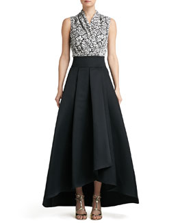 St. John Collection Graphic Lace Sleeveless Wrap Shell & Duchesse Origami Ruffle Gown Skirt