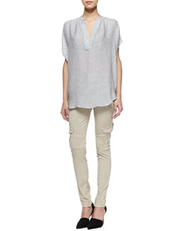 Vince Printed Split-Neck Popover & Slim-Fit Cargo Pants