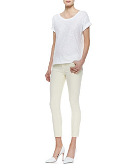 Vince Rolled-Sleeve Cotton Tee & Dylan Skinny Ankle Jeans